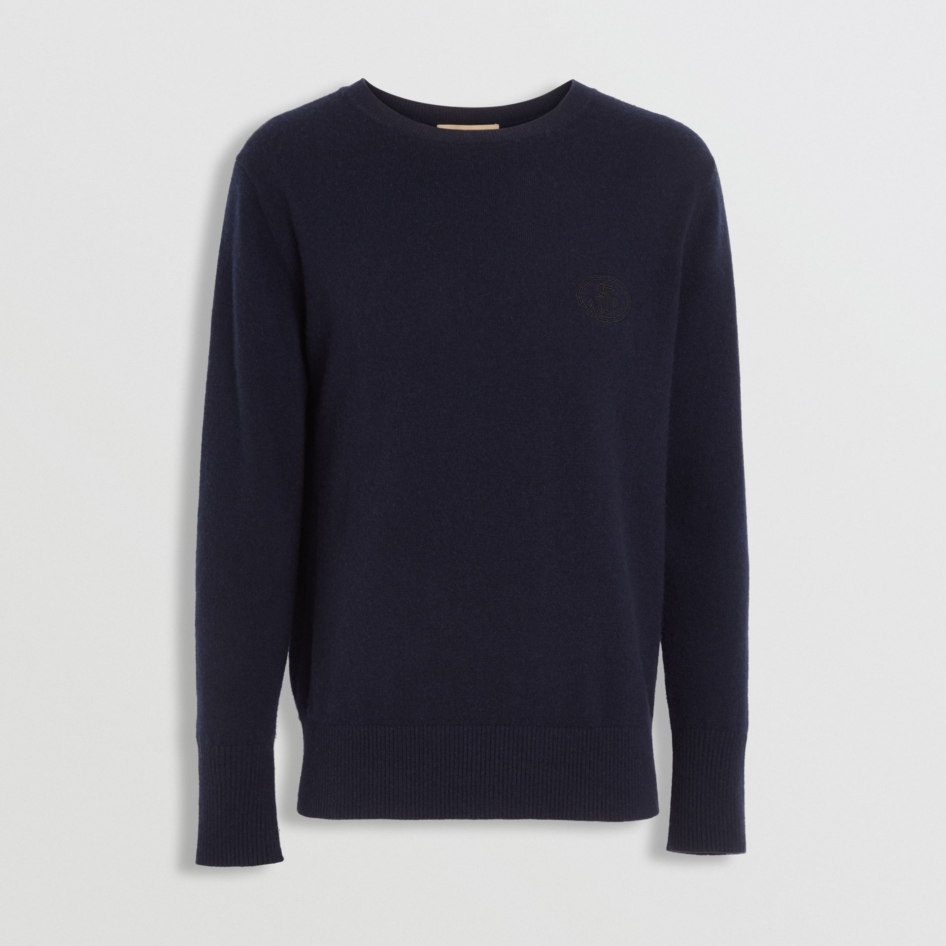 Embroidered Archive Logo Cashmere Sweater in Navy - Men | Burberry - gallery image 3