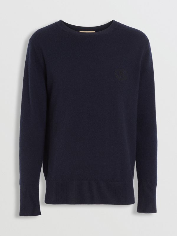 Embroidered Archive Logo Cashmere Sweater in Navy - Men | Burberry United Kingdom - cell image 3