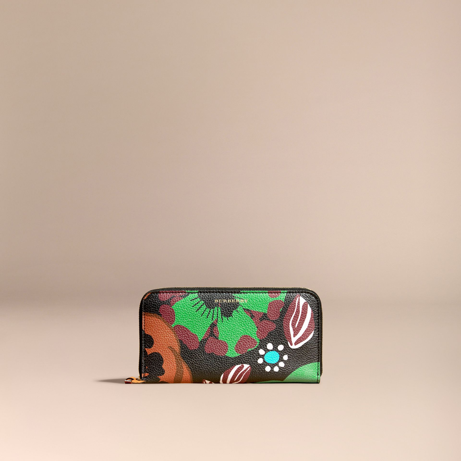 Navy Floral Print Grainy Leather Ziparound Wallet Navy - gallery image 6