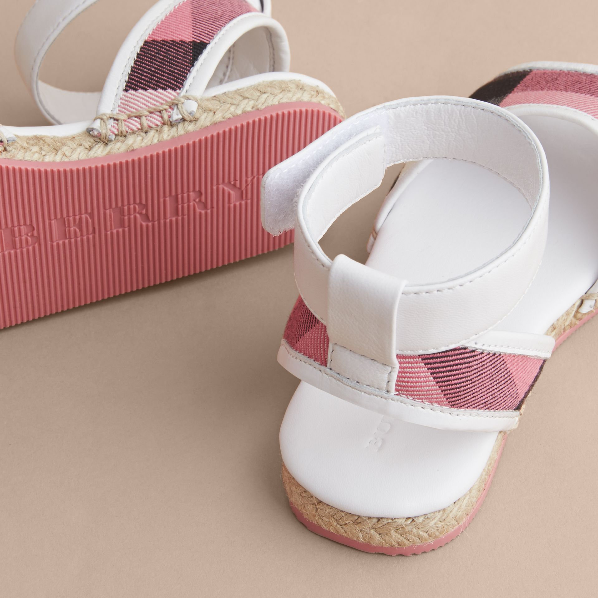 Leather Ankle Strap and House Check Espadrille Sandals in Rose Pink - Girl | Burberry Hong Kong - gallery image 2