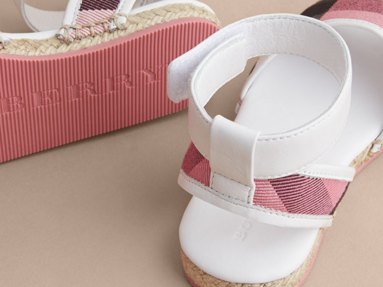 Leather Ankle Strap and House Check Espadrille Sandals | Burberry Australia - cell image 1