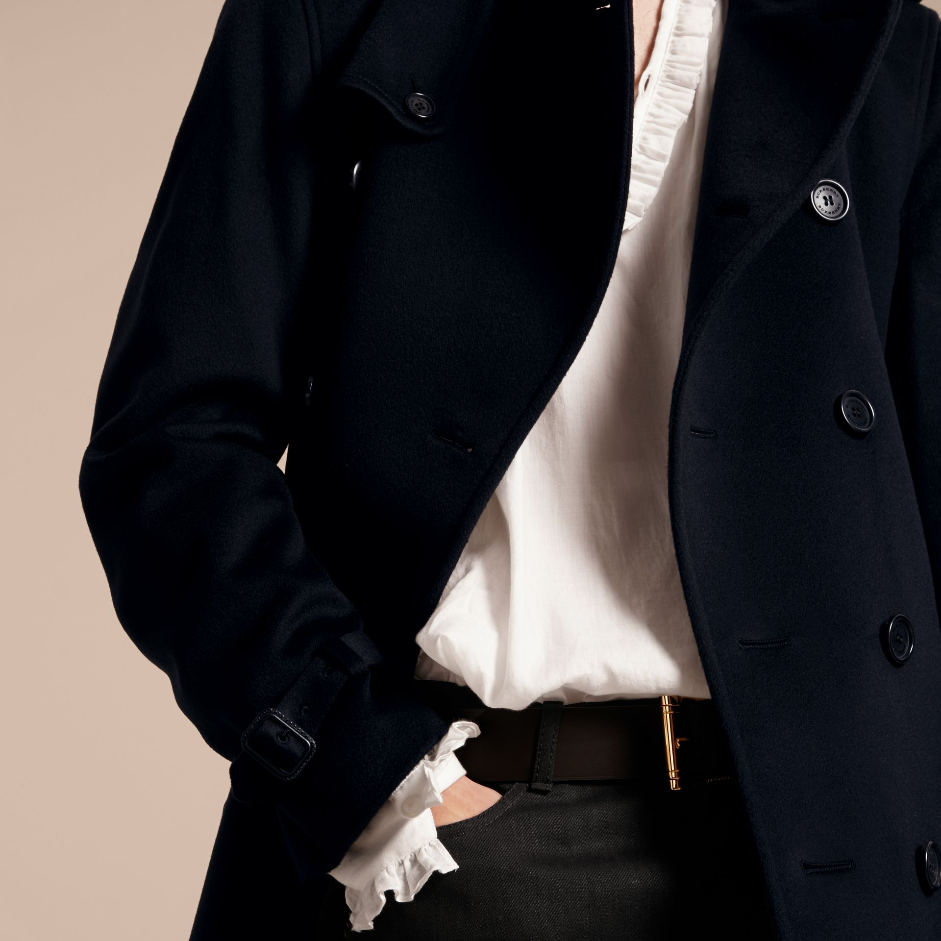 Cashmere Trench Coat Navy - gallery image 7