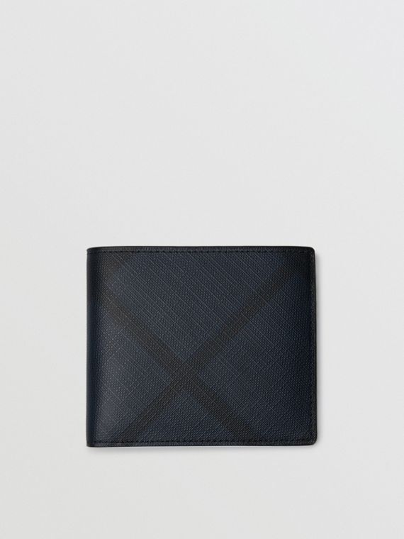 London Check International Bifold Wallet in Navy/black
