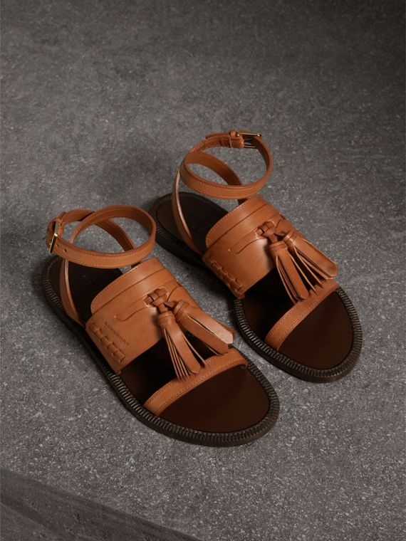 Tasselled Leather Sandals in Amber
