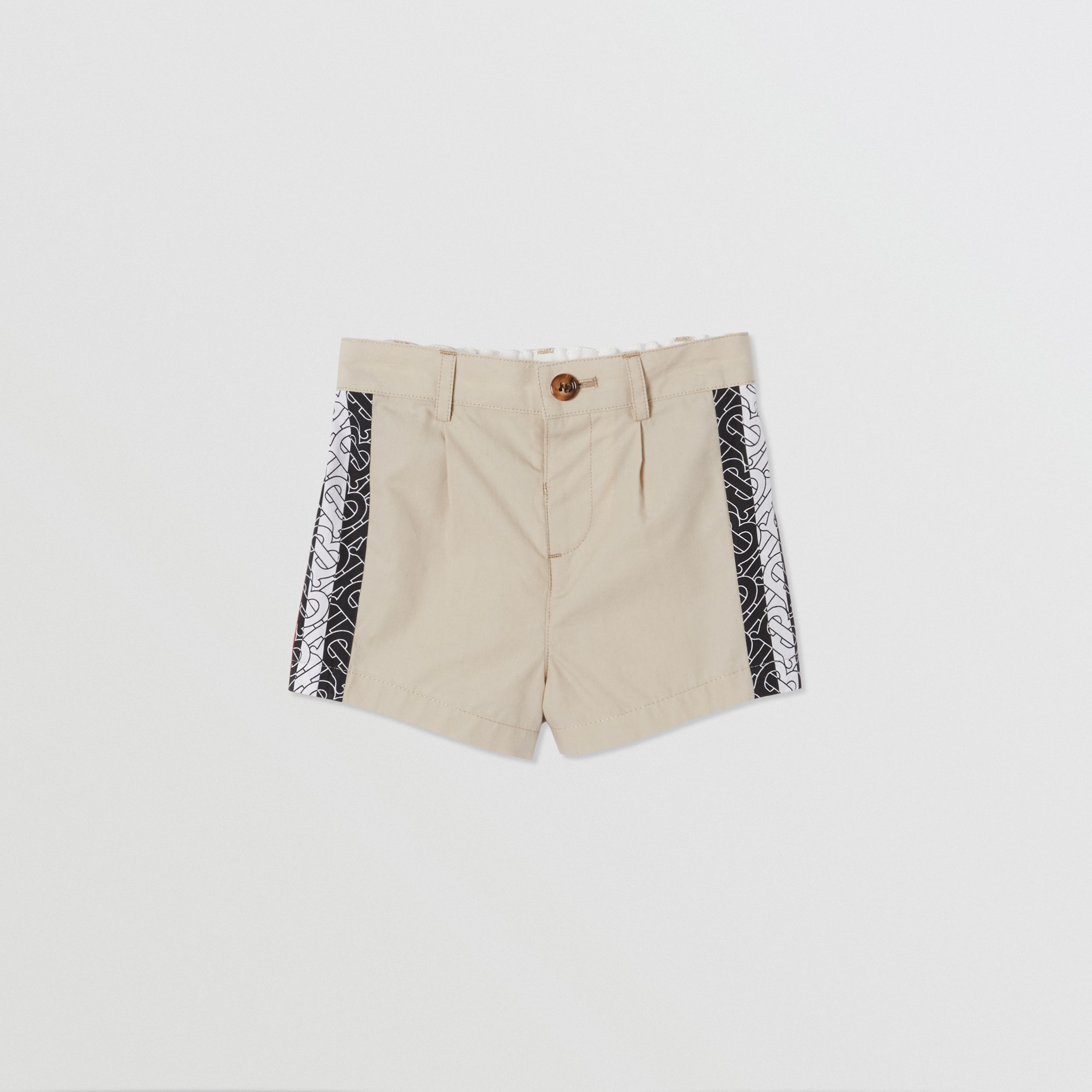 Monogram Stripe Print Cotton Tailored Shorts in Stone - Children | Burberry - 1