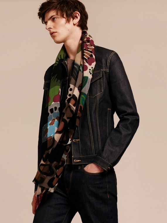 Damson pink The Lightweight Cashmere Scarf in Check and Floral Print - cell image 3