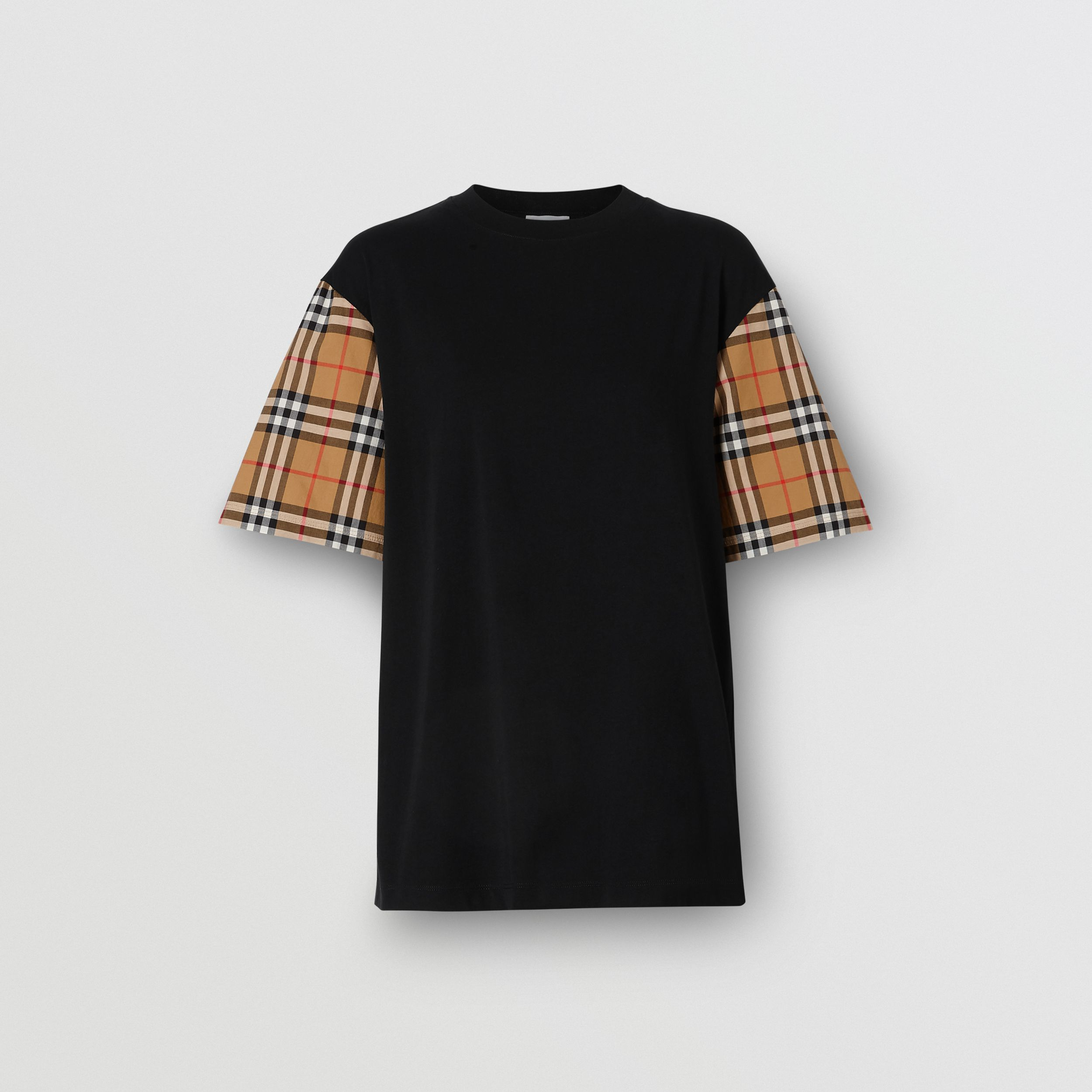 Vintage Check Detail Cotton T-shirt in Black - Women | Burberry - 4