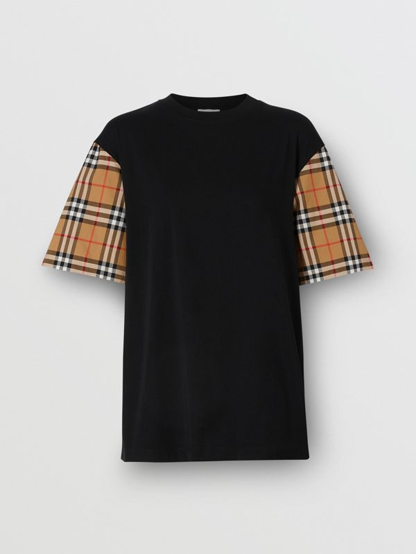 Vintage Check Detail Cotton T-shirt in Black - Women | Burberry - cell image 3