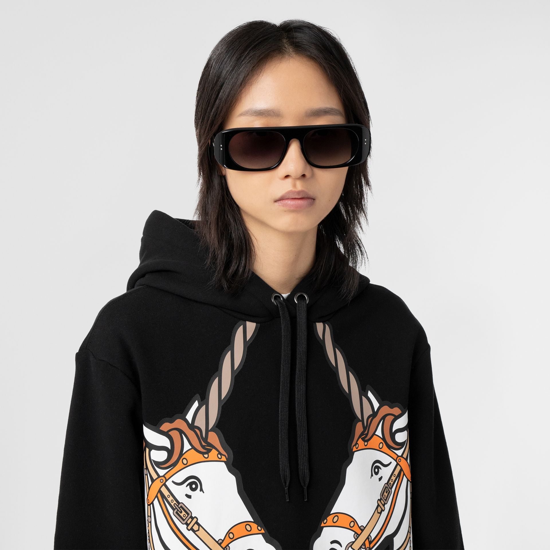 Unicorn Print Cotton Oversized Hoodie in Black - Women | Burberry Hong Kong S.A.R - gallery image 1