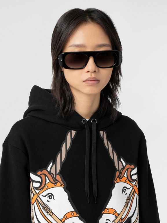 Unicorn Print Cotton Oversized Hoodie in Black - Women | Burberry Hong Kong S.A.R - cell image 1