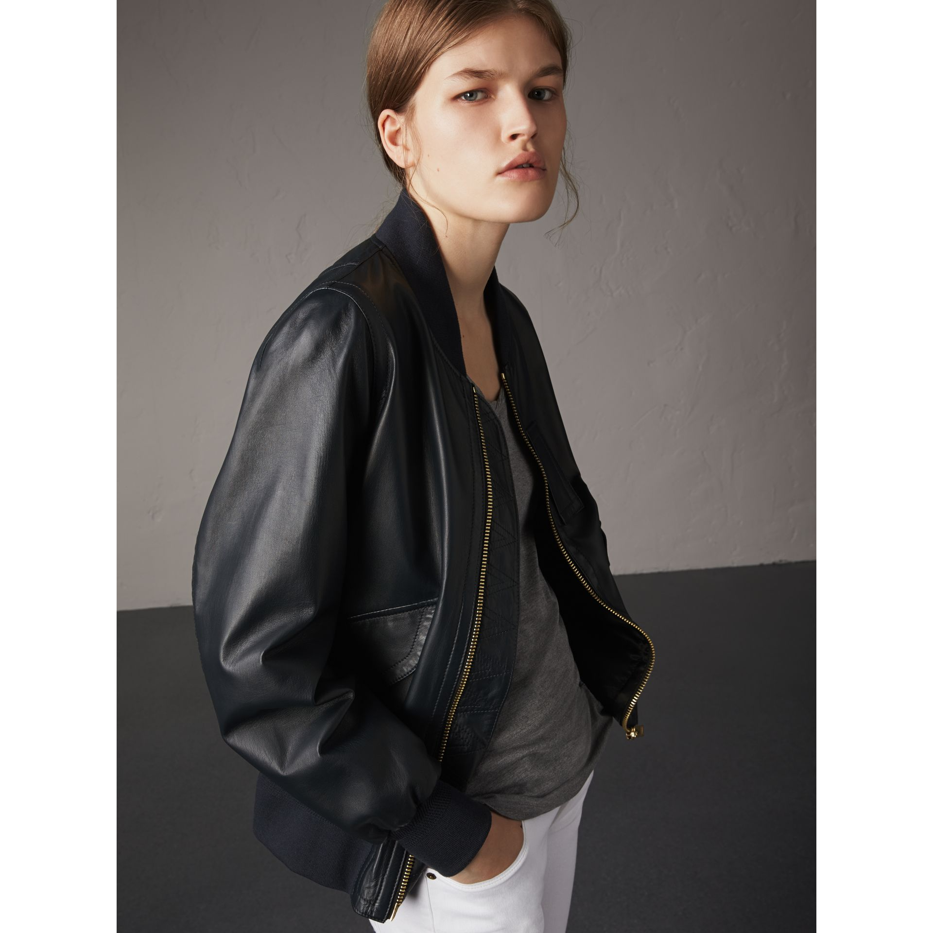 Lightweight Lambskin Bomber Jacket in Navy - Women | Burberry Singapore - gallery image 1