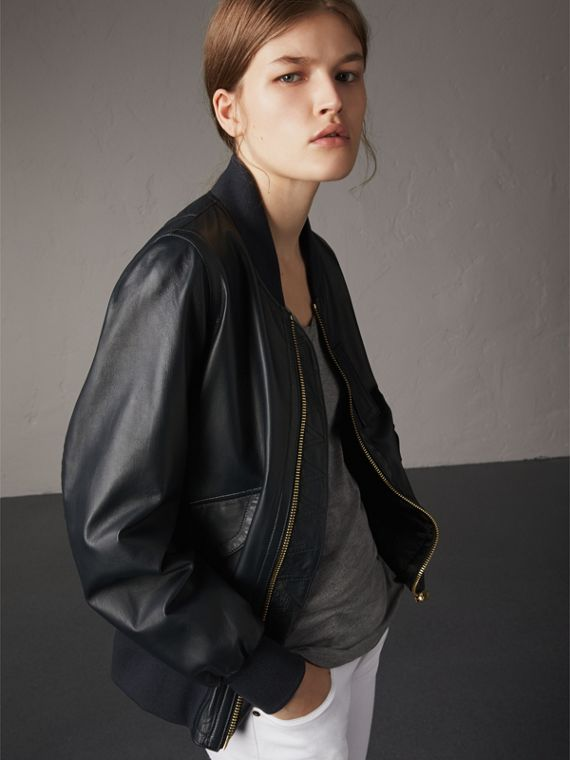 Lightweight Lambskin Bomber Jacket in Navy