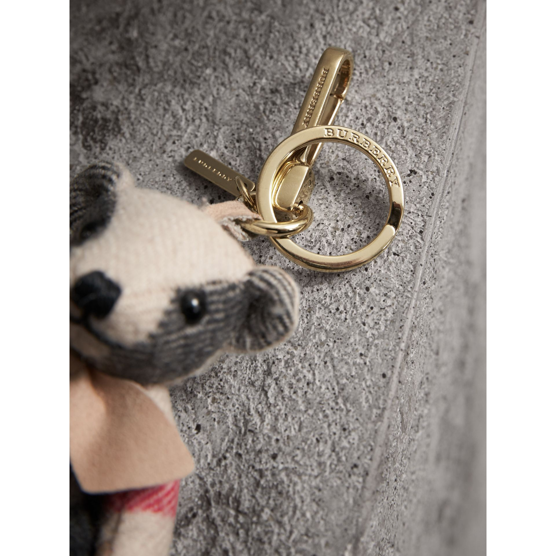 Thomas Bear Charm in Check Cashmere in Stone | Burberry Canada - gallery image 1