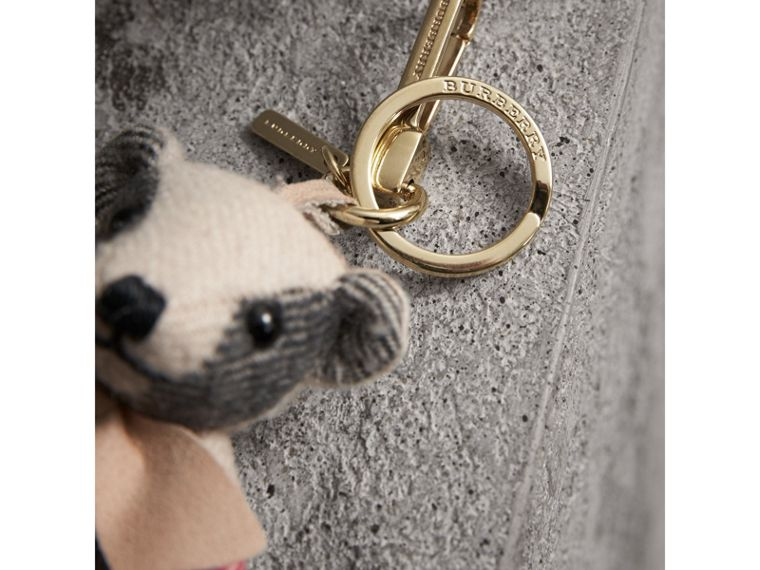 Thomas Bear Charm in Check Cashmere in Stone | Burberry Singapore - cell image 1