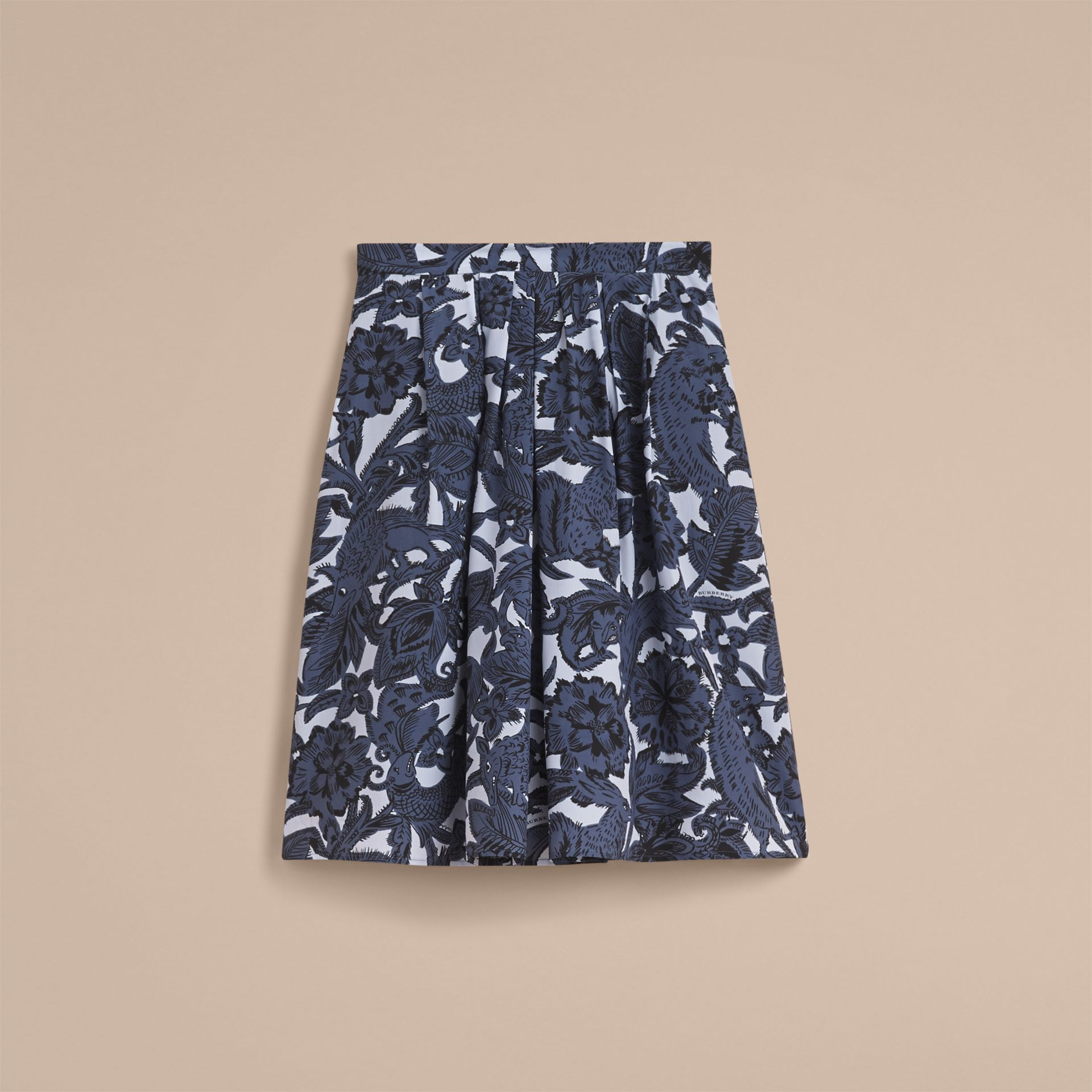 Beasts Print Silk Skirt in Stone Blue - Women | Burberry - gallery image 3