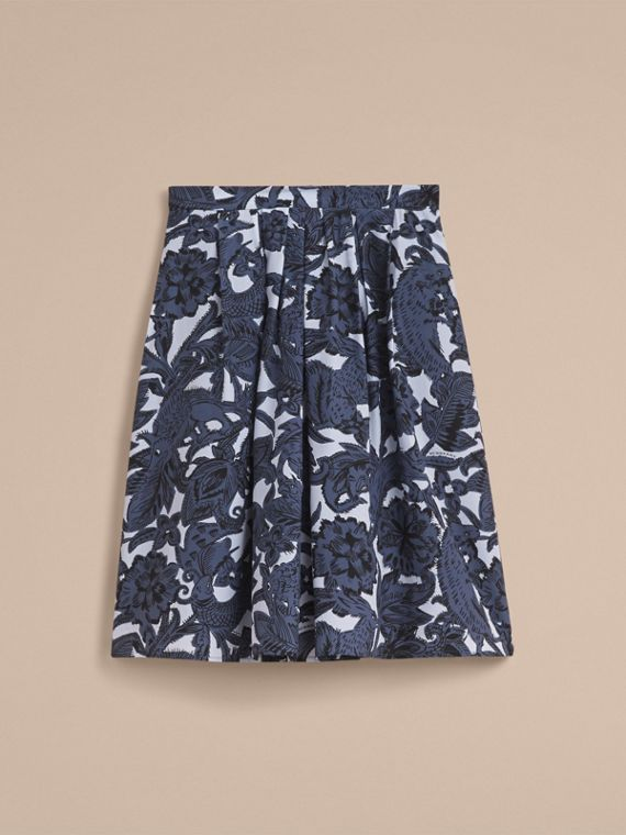 Beasts Print Silk Skirt in Stone Blue - Women | Burberry - cell image 3