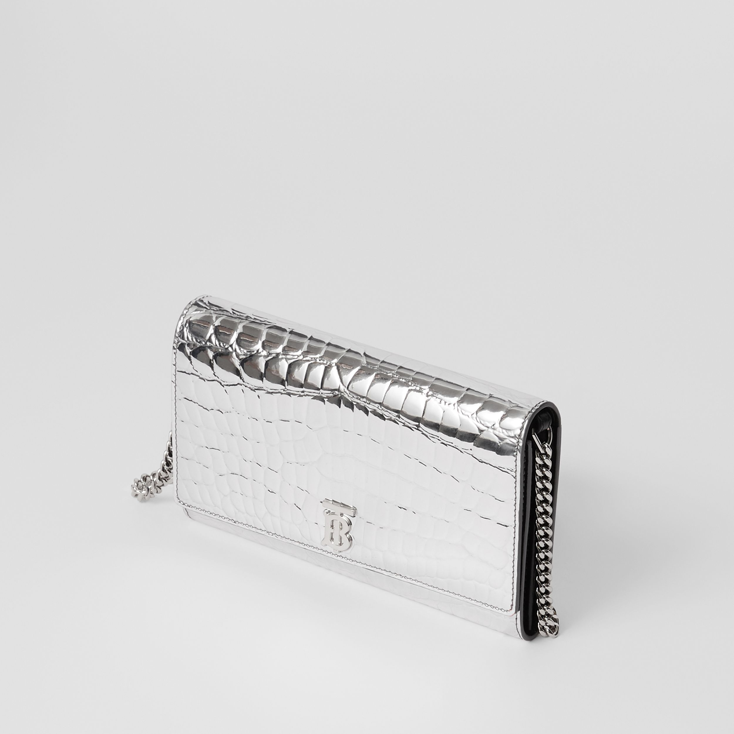 Metallic Embossed Wallet with Detachable Strap in Silver - Women | Burberry - 4