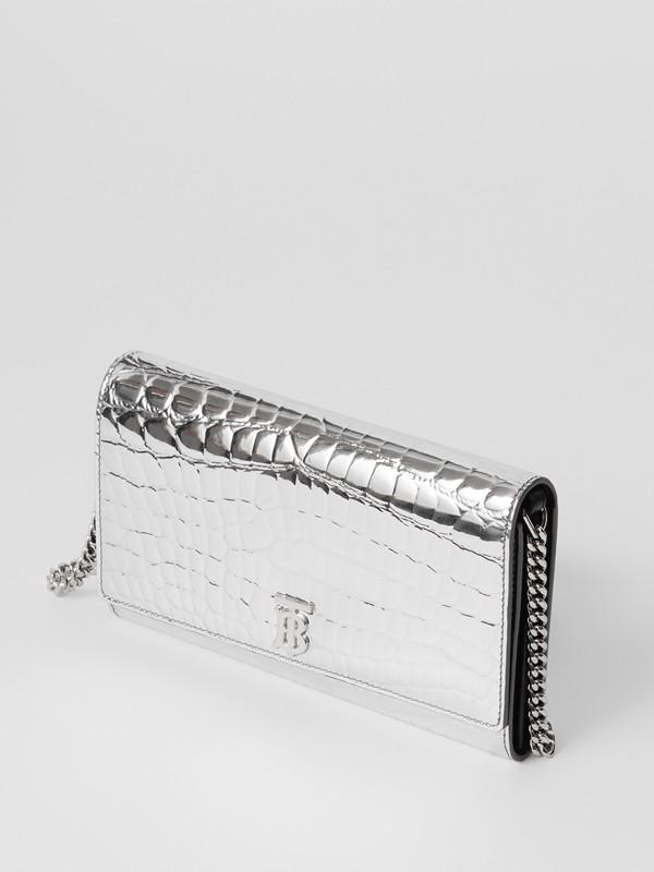 Portefeuille embossé métallisé avec sangle amovible (Argent) - Femme | Burberry - cell image 3