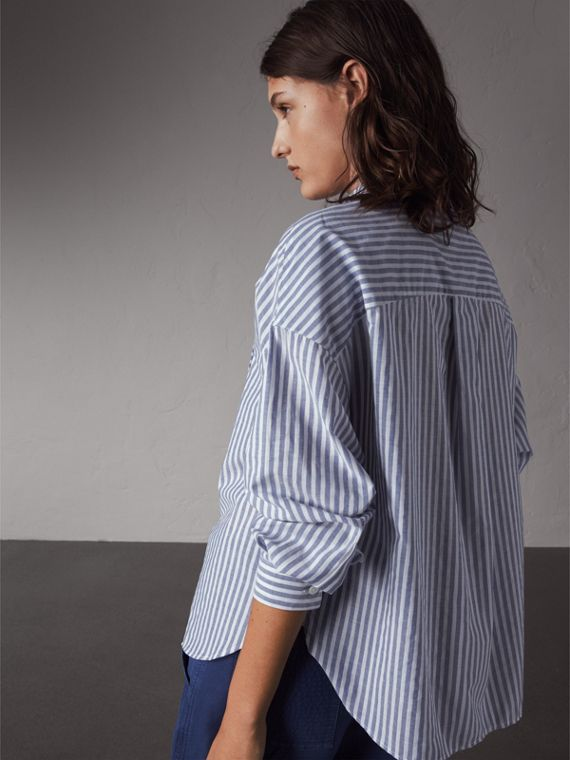 Pleated Bib Striped Cotton Shirt | Burberry - cell image 2