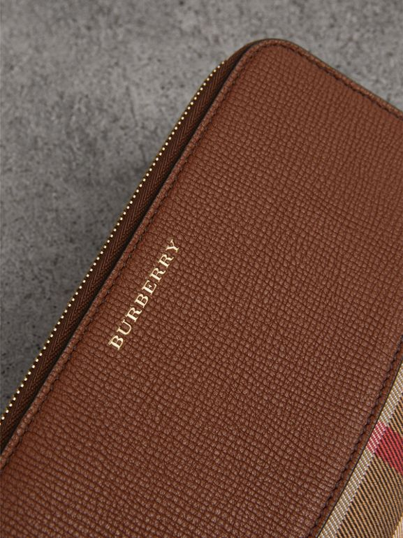 House Check and Leather Ziparound Wallet in Brown Ochre - Women | Burberry Hong Kong - cell image 1