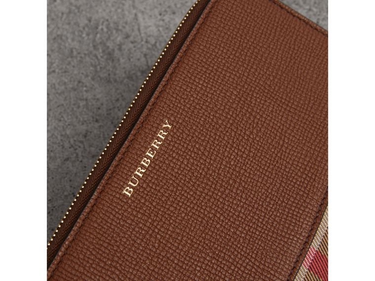 House Check and Leather Ziparound Wallet in Brown Ochre - Women | Burberry United States - cell image 1
