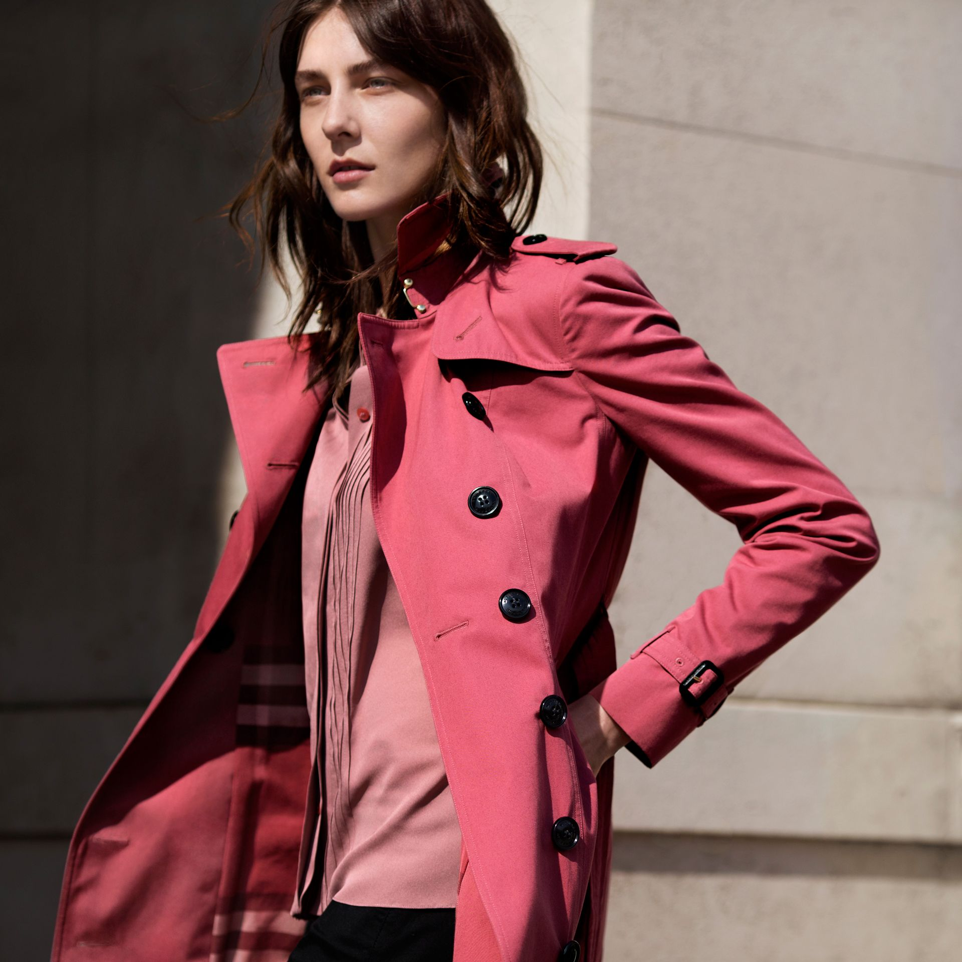 Bright copper pink Cotton Gabardine Trench Coat - gallery image 8
