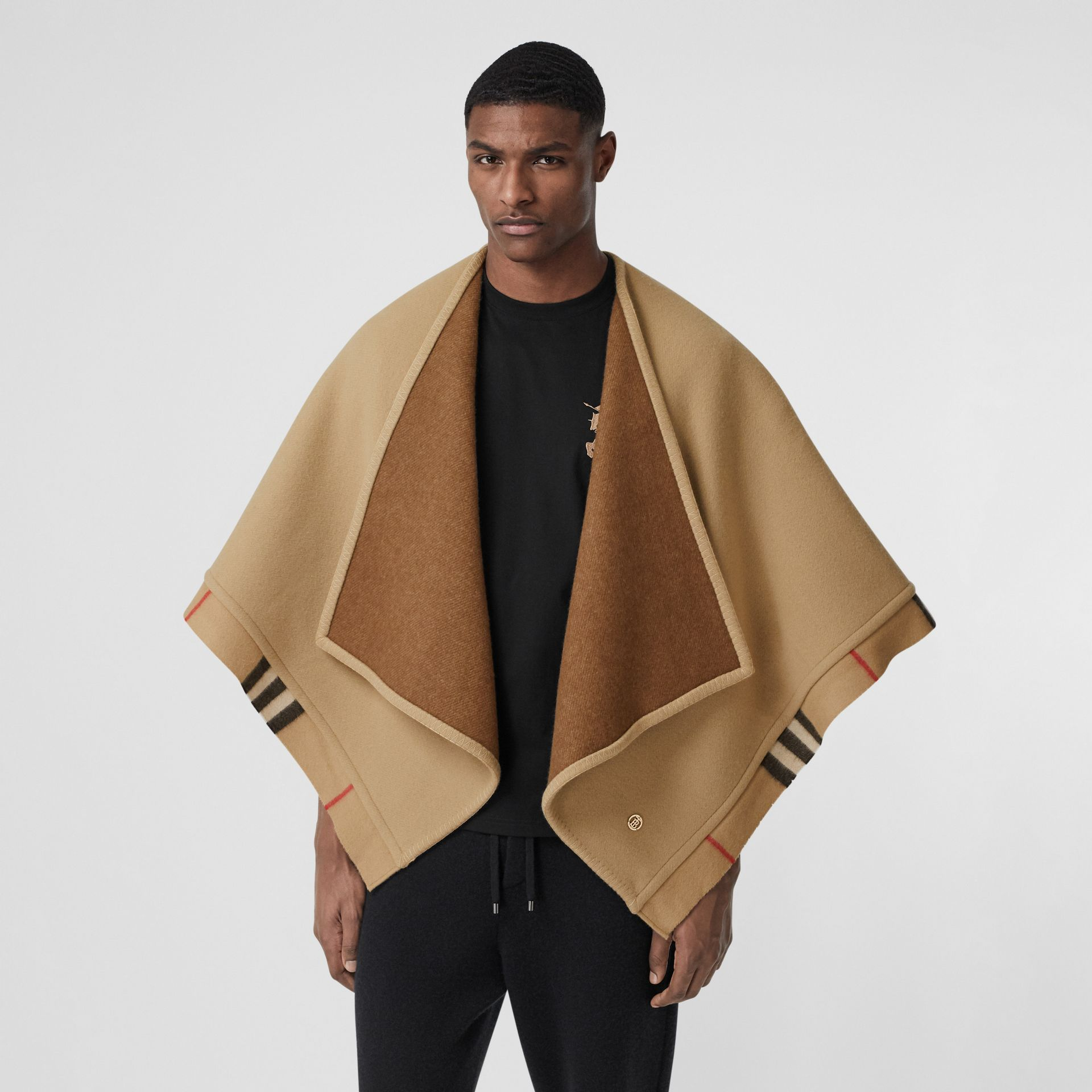 Check Trim Wool Cashmere Cape in Archive Beige - Women | Burberry - gallery image 12