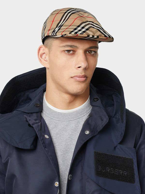 Vintage Check Cotton Flat Cap in Archive Beige | Burberry - cell image 2