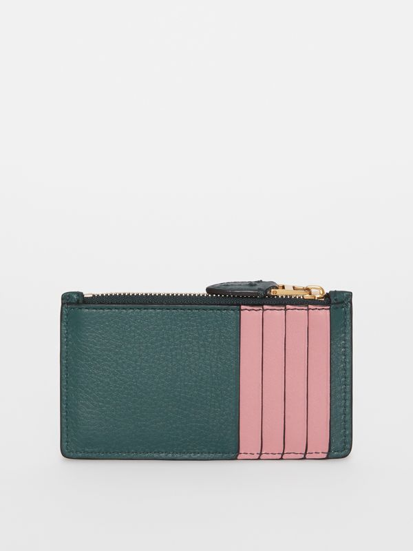 Two-tone Leather Zip Card Case in Dark Cyan | Burberry United States - cell image 2