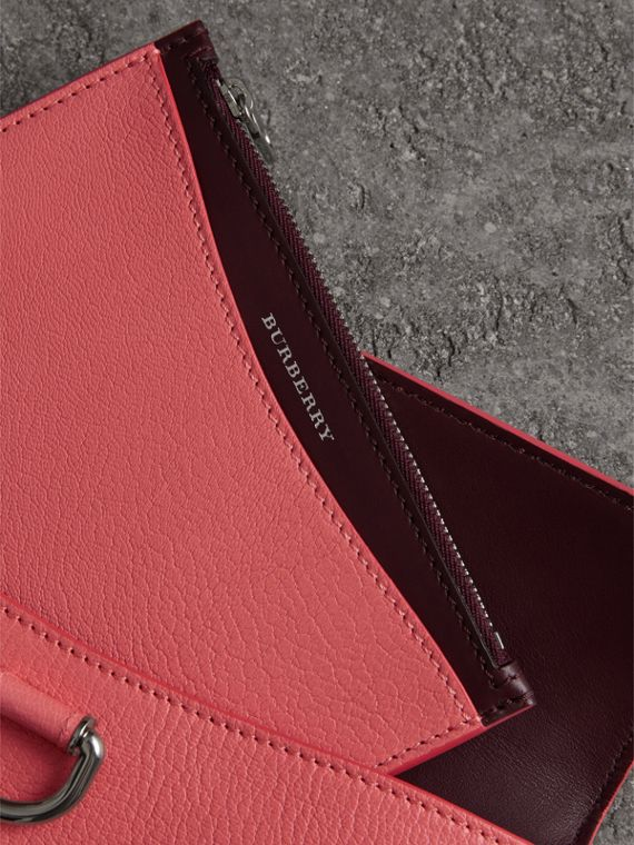 D-ring Leather Pouch with Zip Coin Case in Bright Coral Pink - Women | Burberry Hong Kong - cell image 3