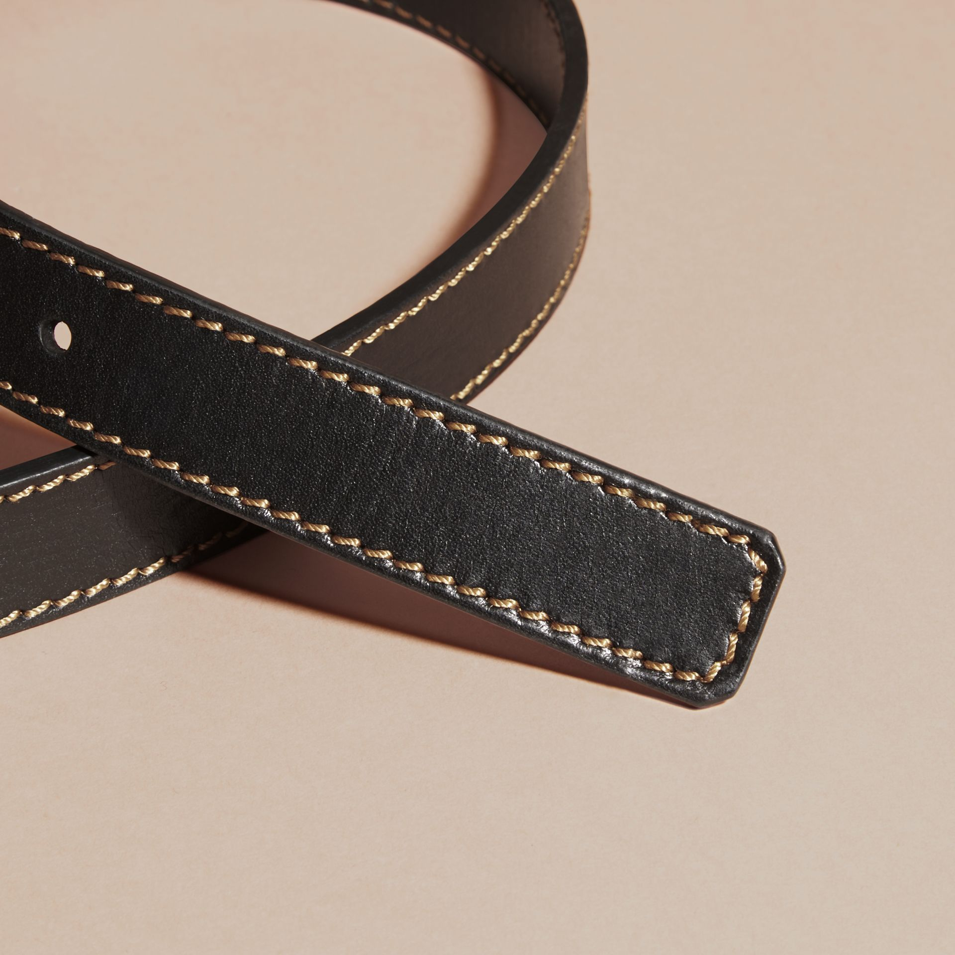 Black Smooth Leather Belt with Topstitch Detail - gallery image 3