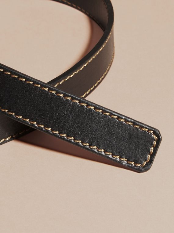 Black Smooth Leather Belt with Topstitch Detail - cell image 2