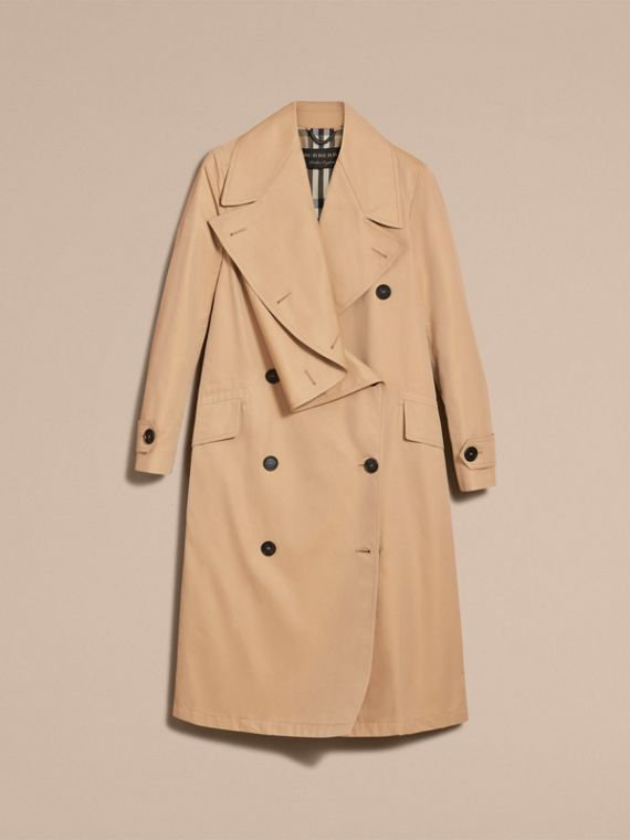 Curved Closure Cotton Gabardine Coat in Honey - Women | Burberry - cell image 3