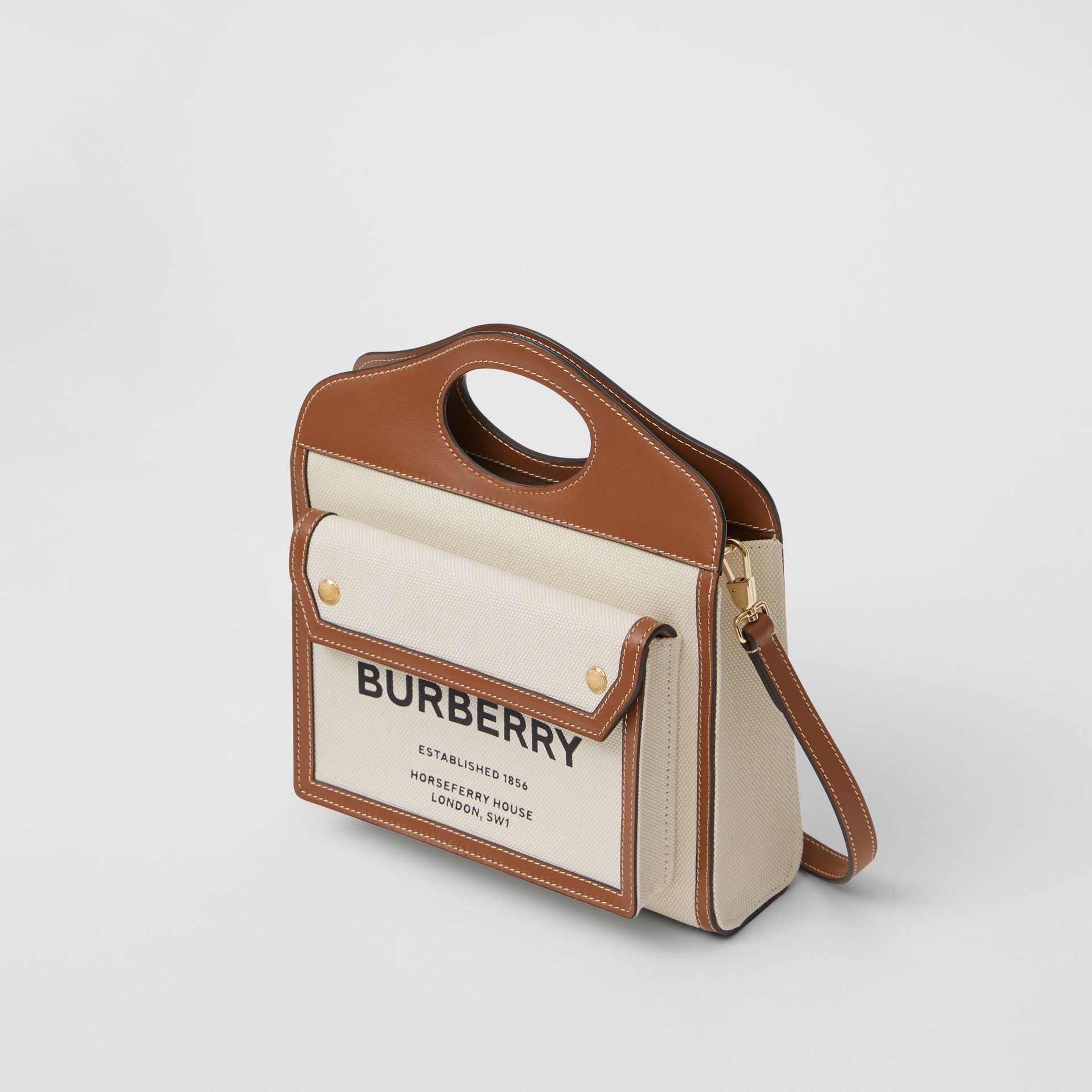 Borsa Pocket mini bicolore in tela e pelle (Naturale/marrone Malto) - Donna | Burberry - immagine della galleria 3