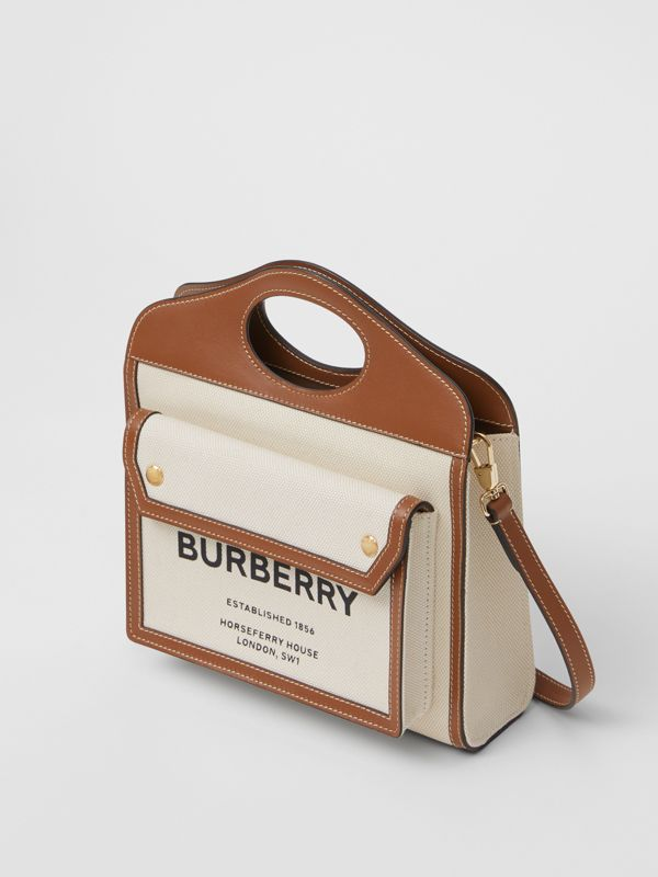Borsa Pocket mini bicolore in tela e pelle (Naturale/marrone Malto) - Donna | Burberry - cell image 3