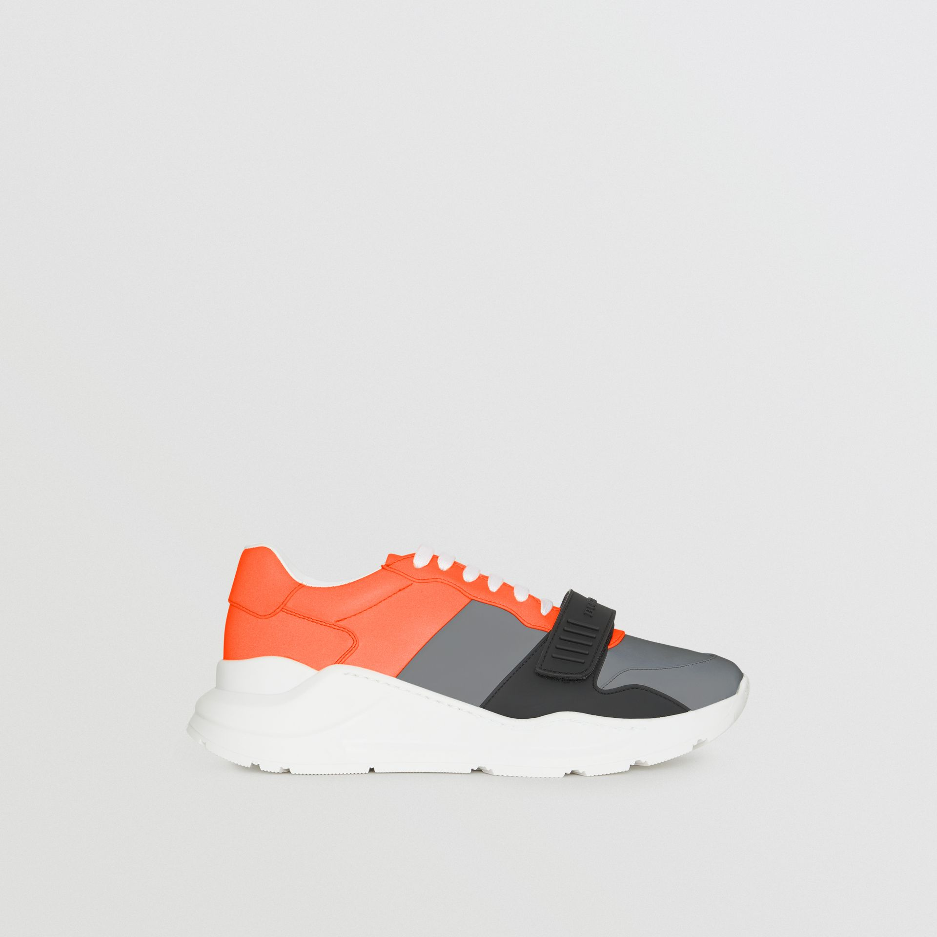Colour Block Sneakers in Silver Grey/orange - Men | Burberry - gallery image 5