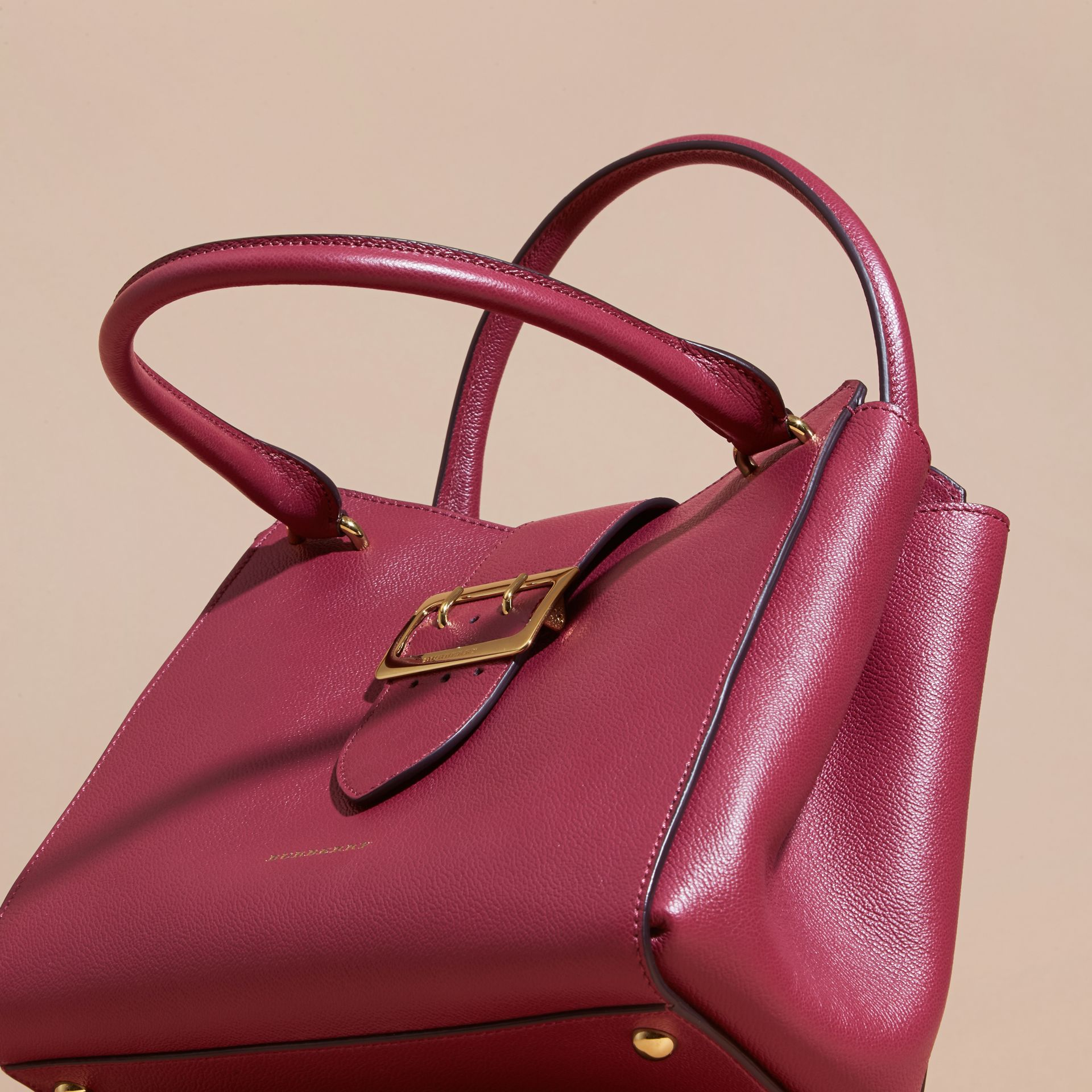 The Medium Buckle Tote in Grainy Leather Dark Plum - gallery image 8
