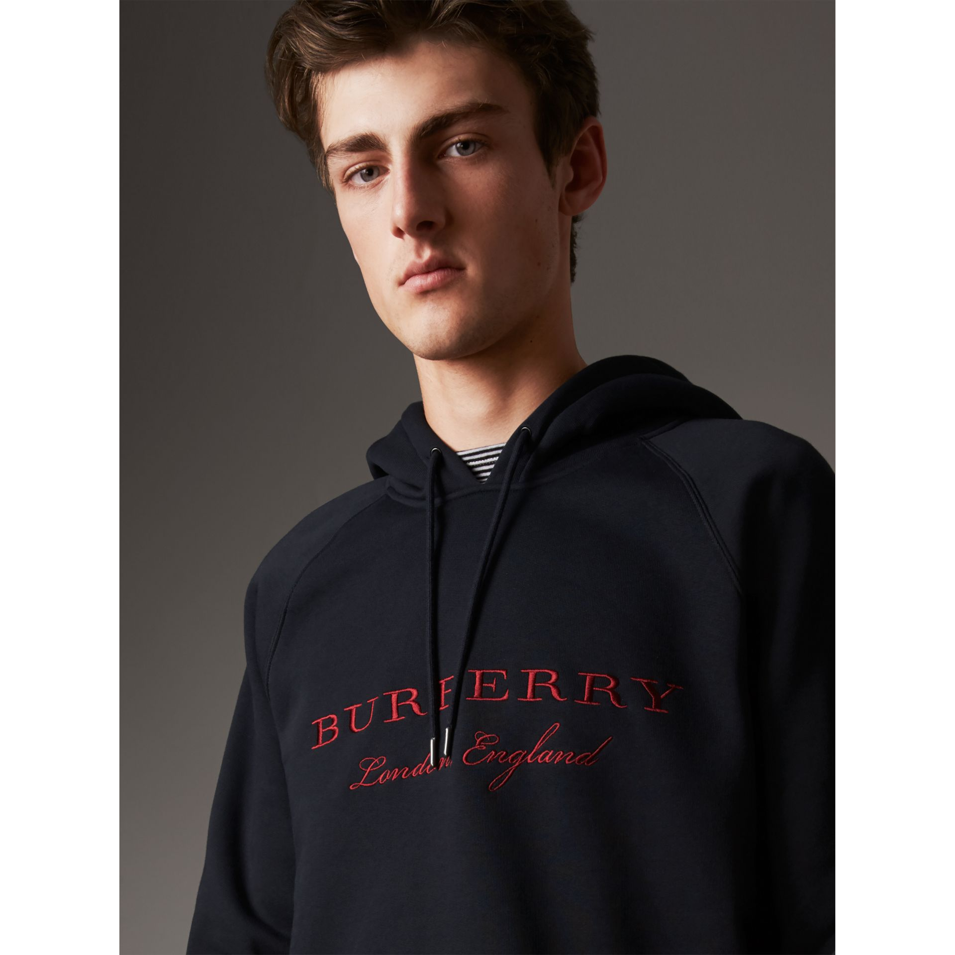 Embroidered Hooded Sweatshirt in Navy - Men | Burberry United Kingdom - gallery image 1