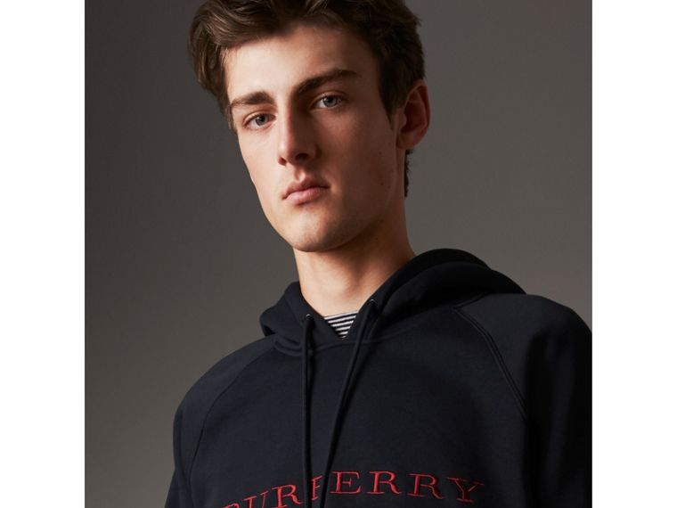 Embroidered Hooded Sweatshirt in Navy - Men | Burberry Singapore - cell image 1