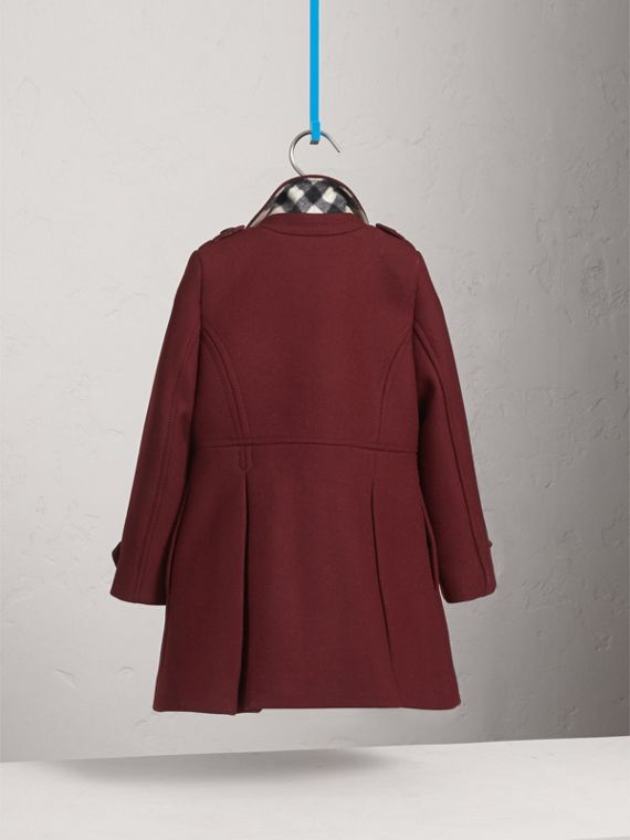 Technical Wool Cashmere Double-Breasted Coat in Garnet - Girl | Burberry Canada - cell image 3