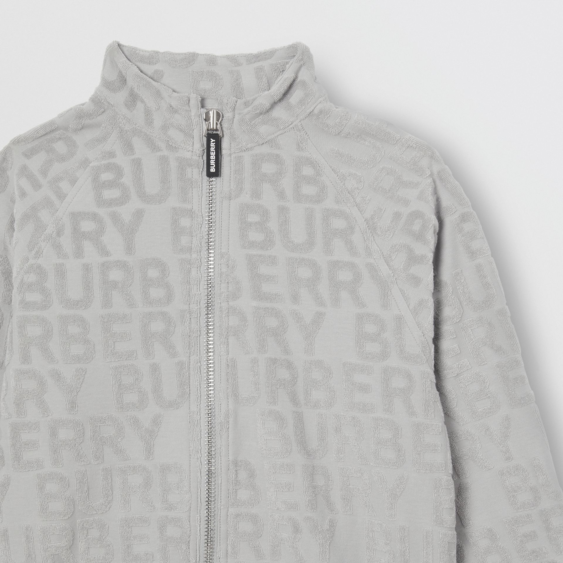 Logo Towelling Jacket in Pale Grey | Burberry - gallery image 4