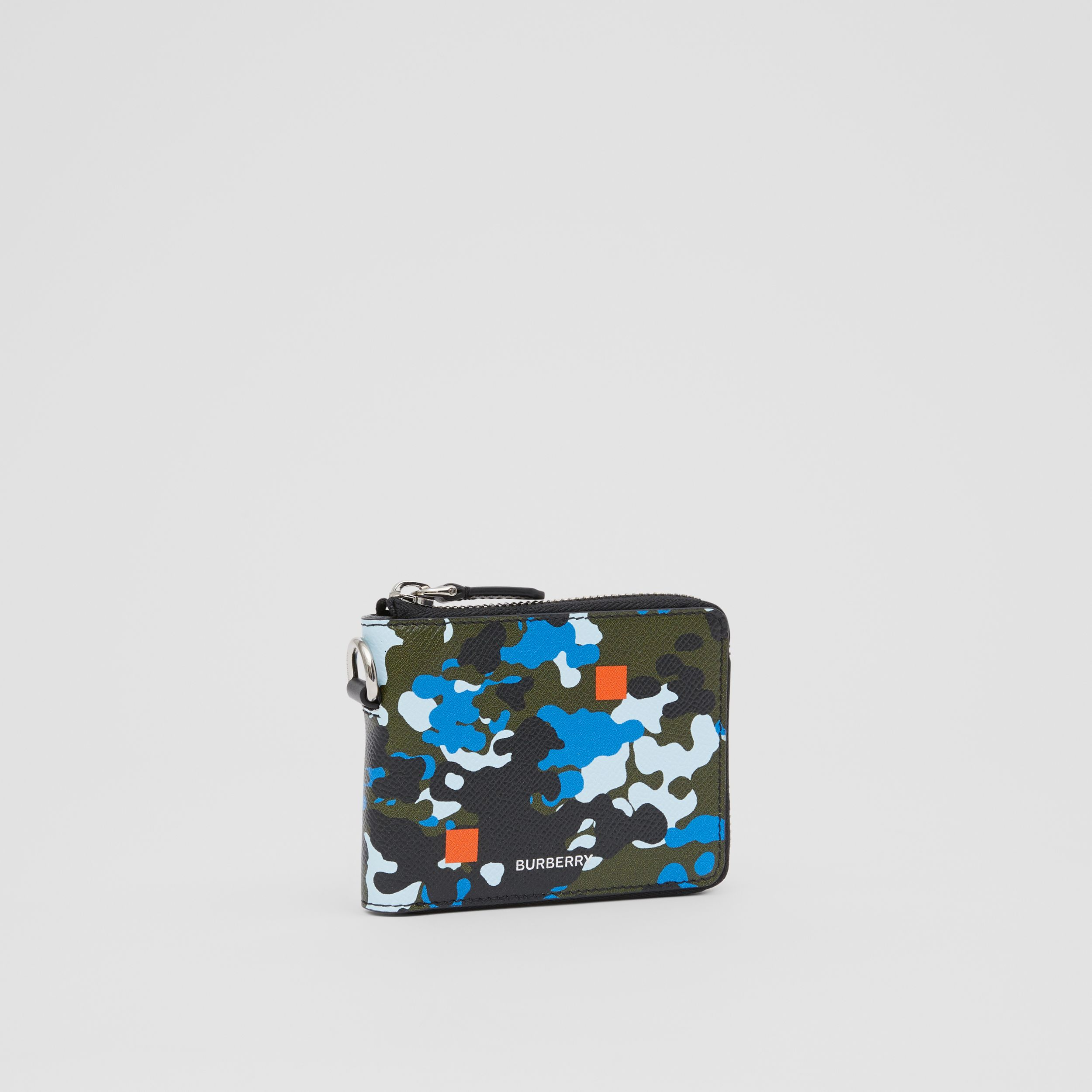 Camouflage Print Grainy Leather Ziparound Wallet in Blue - Men | Burberry Hong Kong S.A.R. - 4