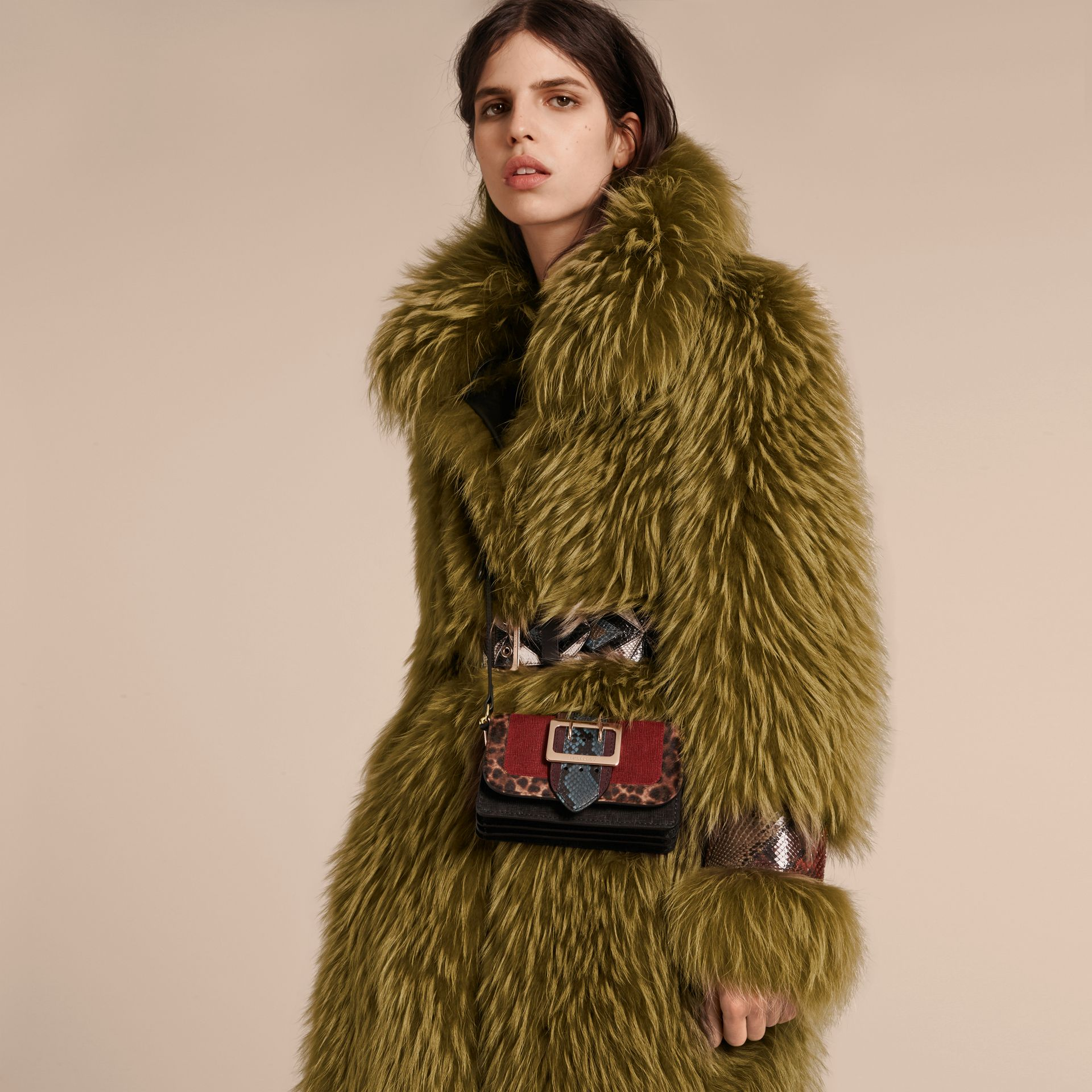 Bright yellow olive Oversize Raccoon Coat with Snakeskin Details - gallery image 5