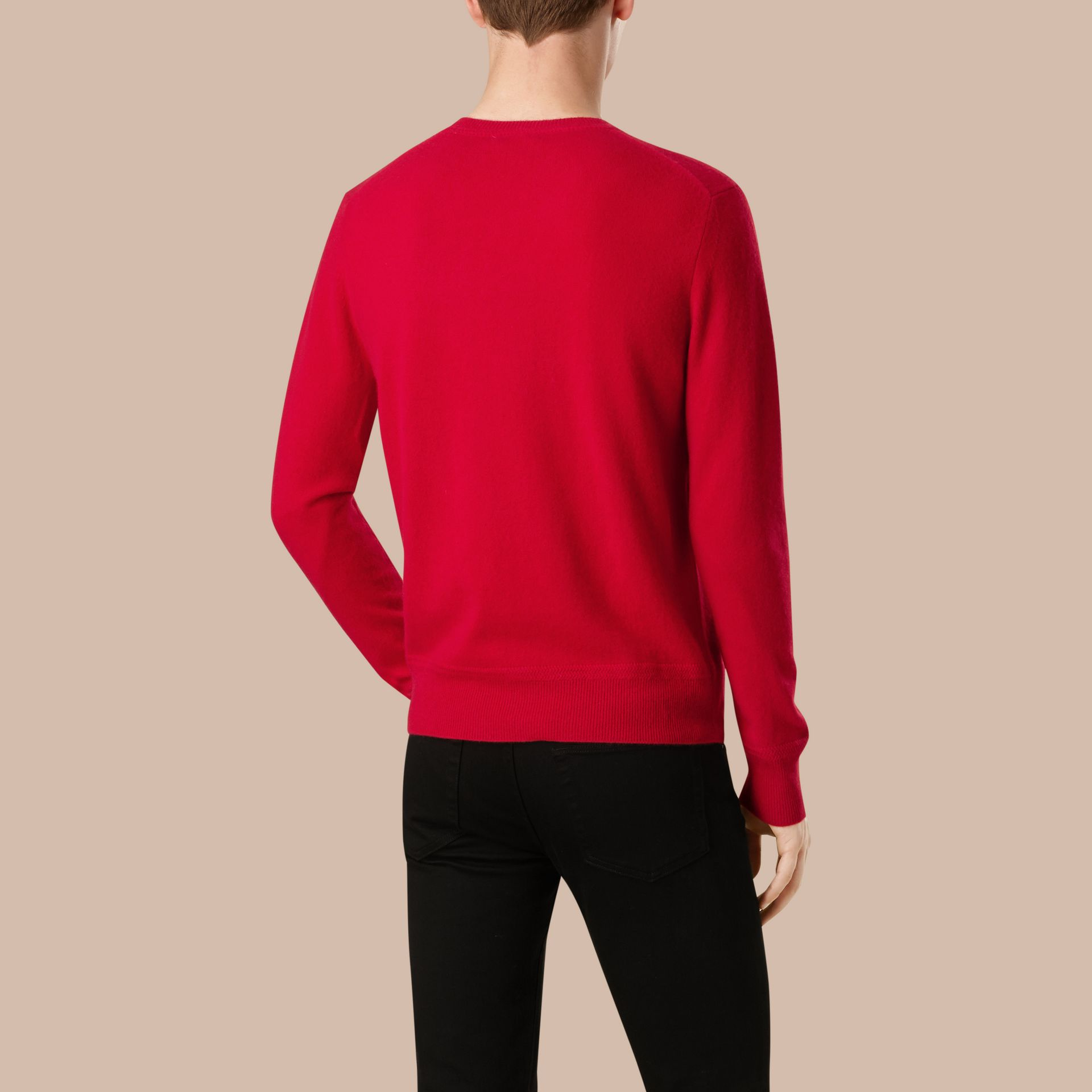 Crew Neck Cashmere Sweater in Military Red - Men | Burberry - gallery image 3