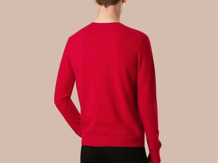 Crew Neck Cashmere Sweater in Military Red - cell image 2