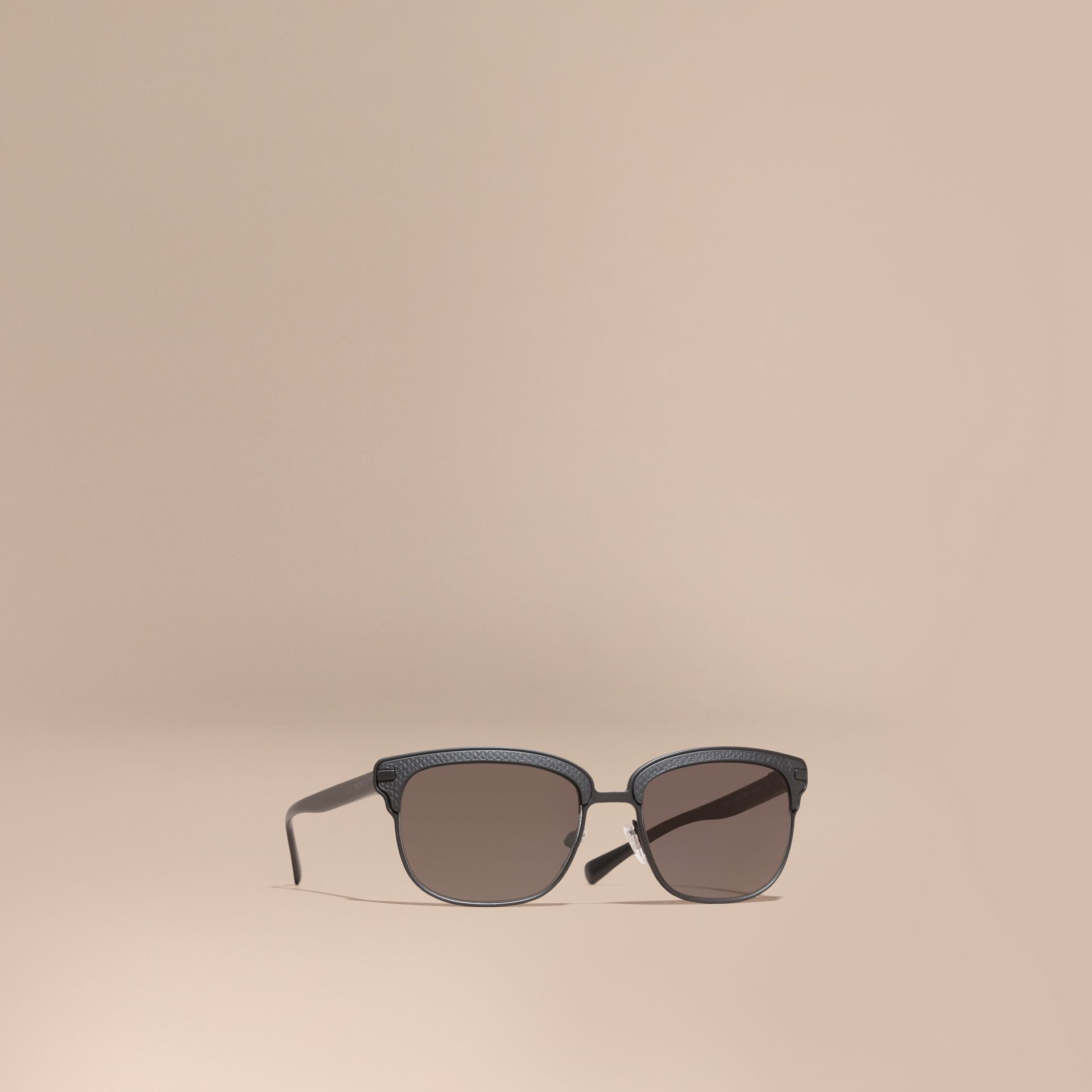 Textured Front Square Frame Sunglasses in Black - Men | Burberry Singapore - gallery image 1