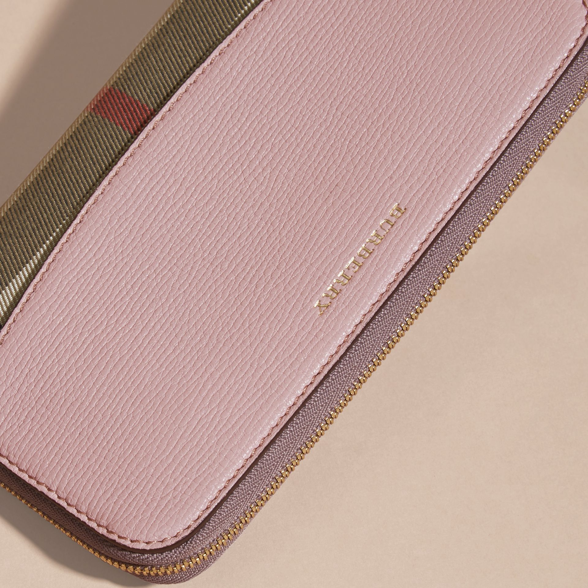 House Check and Leather Ziparound Wallet Pale Orchid - gallery image 4