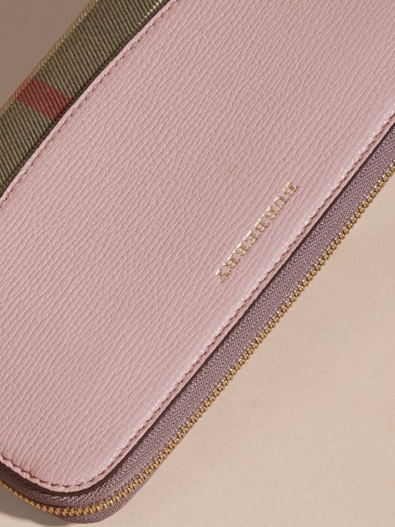 House Check and Leather Ziparound Wallet in Pale Orchid - cell image 3