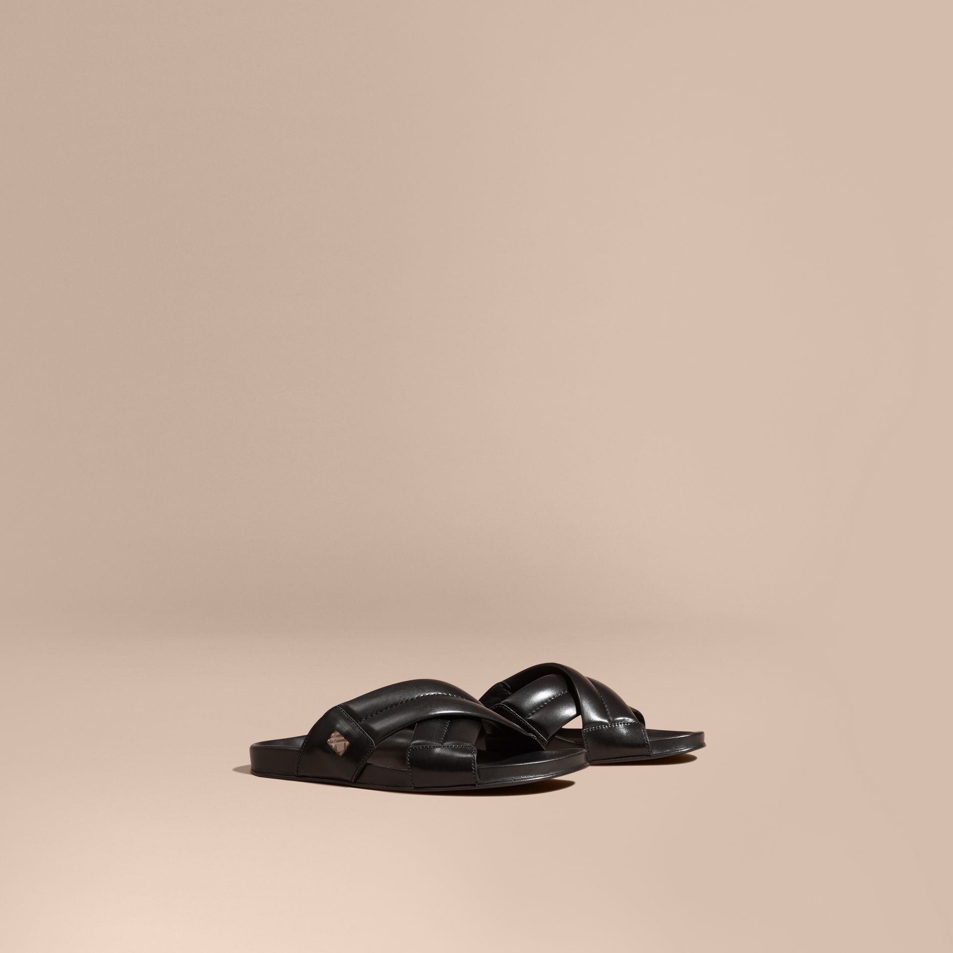 Black Check Detail Leather Sandals - gallery image 1