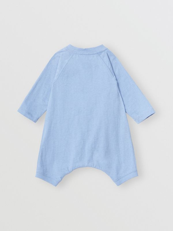 Logo Print Cotton Three-piece Baby Gift Set in Dusty Blue - Children | Burberry - cell image 3